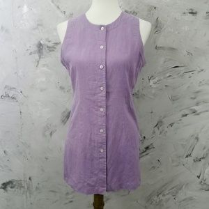 Vintage 80's Purple Linen Vest Style Blouse /Top